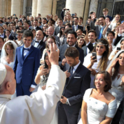 "Pope Francis greets newly married couples during his general audience in St. Peter's Square at the Vatican in this Sept. 30, 2015, file photo. Pope Francis' postsynodal apostolic exhortation on the family, ""Amoris Laetitia"" (""The Joy of Love""), was to be released April 8. The exhortation is the concluding document of the 2014 and 2015 synods of bishops on the family. (CNS photo/L'Osservatore Romano) See stories to come."